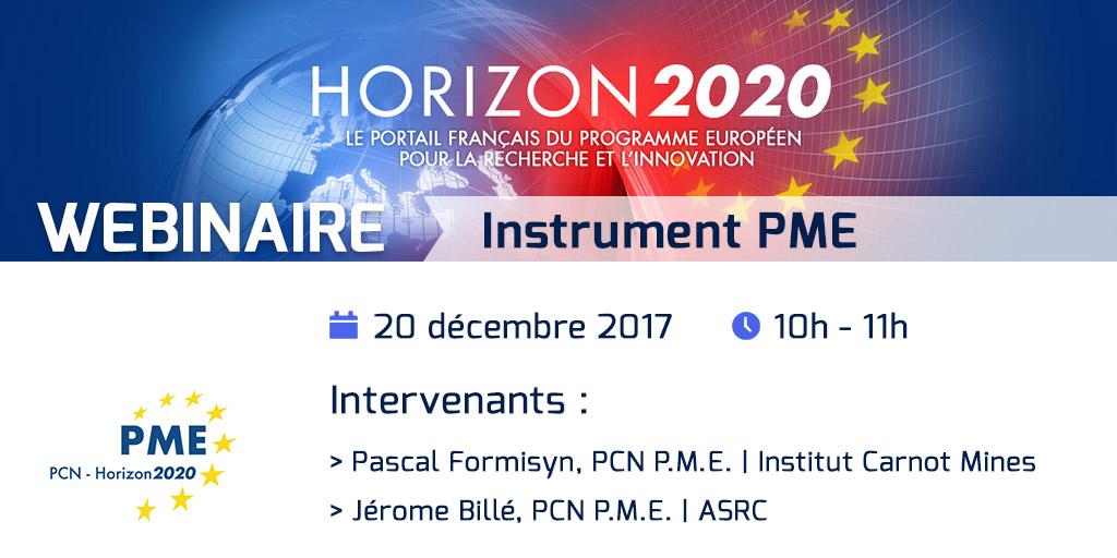 Webinaire Instrument PME H2020 - 20 décembre 2017