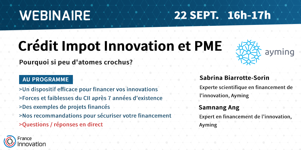 Webinaire AYMING - Crédit impôt Innovation et PME